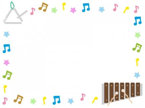 トライアングルと木琴の音符フレーム飾り枠イラスト 無料イラスト