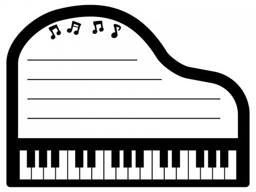 ピアノの白黒メモ帳フレーム飾り枠イラスト