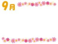 9月・コスモスの上下フレーム飾り枠イラスト