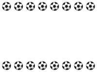 サッカーボールの上下フレーム飾り枠イラスト