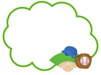 野球のもこもこフレーム飾り枠イラスト