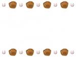 野球・グローブとボールの上下フレーム飾り枠イラスト