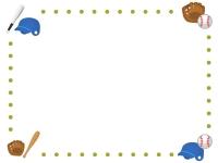 野球の点線フレーム飾り枠イラスト
