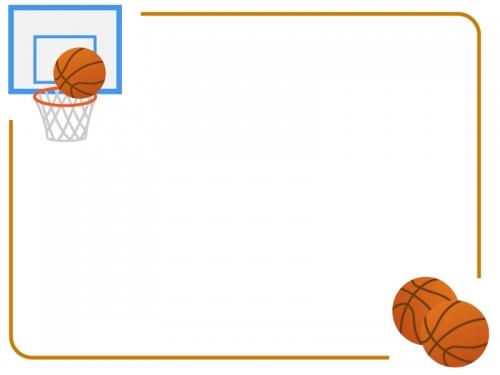 バスケットボールのフレーム飾り枠イラスト 無料イラスト かわいい