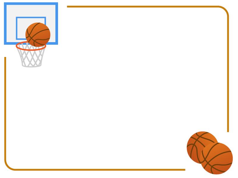 バスケットボールのフレーム飾り枠イラスト 無料イラスト かわいいフリー素材集 フレームぽけっと