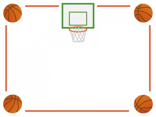 バスケットボールのフレーム飾り枠イラスト02