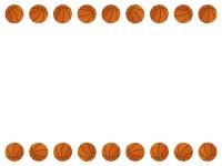 バスケットボールの上下フレーム飾り枠イラスト