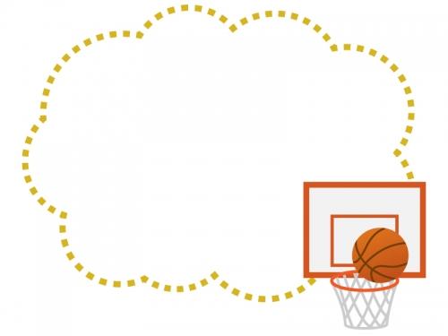 バスケットボールのもこもこフレーム飾り枠イラスト 無料イラスト