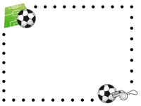 点線のサッカーのフレーム飾り枠イラスト