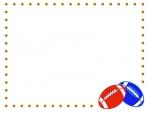 ラグビーボールの点線フレーム飾り枠イラスト