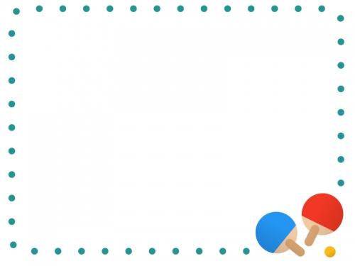 点線の卓球フレーム飾り枠イラスト