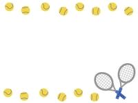テニスボールの上下フレーム飾り枠イラスト