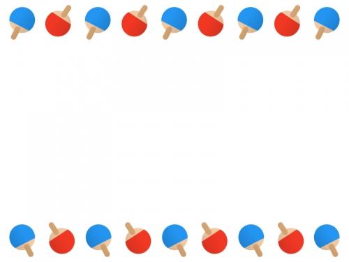 卓球のラケットの上下フレーム飾り枠イラスト