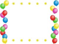 カラフルな風船と星のフレーム飾り枠イラスト