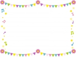 フラッグガーランドと音符のフレーム飾り枠イラスト