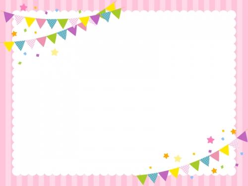 フラッグガーランドのピンク色囲みフレーム飾り枠イラスト