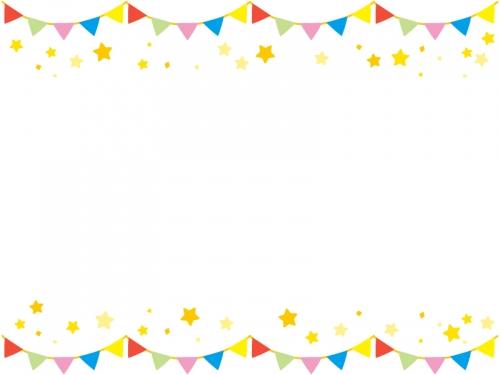 フラッグガーランドと星の上下フレーム飾り枠イラスト