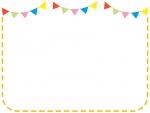フラッグガーランドのオレンジ色点線フレーム飾り枠イラスト
