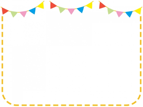 フラッグガーランドのオレンジ色点線フレーム飾り枠イラスト 無料