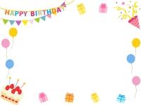 フラッグガーランドとプレゼントの誕生日フレーム飾り枠イラスト