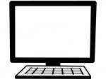 パソコンの白黒フレーム飾り枠イラスト