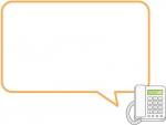電話のオレンジ色吹き出しフレーム飾り枠イラスト
