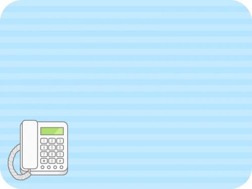 電話の水色ボーダーフレーム飾り枠イラスト