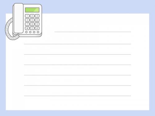 電話の青色メモ帳フレーム飾り枠イラスト