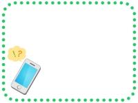スマートフォンの緑色点線フレーム飾り枠イラスト