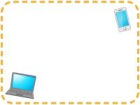 スマートフォンとノートパソコンの点線フレーム飾り枠イラスト