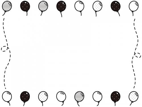 風船の白黒上下フレーム飾り枠イラスト