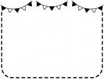 フラッグガーランドの白黒点線フレーム飾り枠イラスト