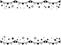 フラッグガーランドと星の白黒上下フレーム飾り枠イラスト