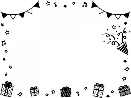 フラッグガーランドとプレゼントの白黒上下フレーム飾り枠イラスト