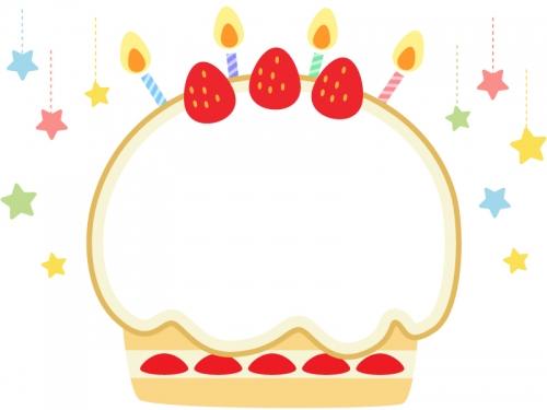 星とバースデーケーキのフレーム飾り枠イラスト