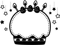 星とバースデーケーキの白黒フレーム飾り枠イラスト