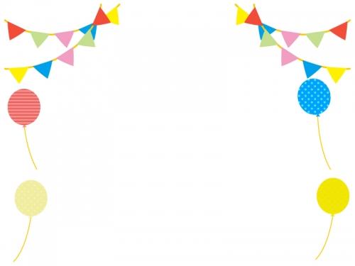 フラッグガーランドと風船のフレーム飾り枠イラスト