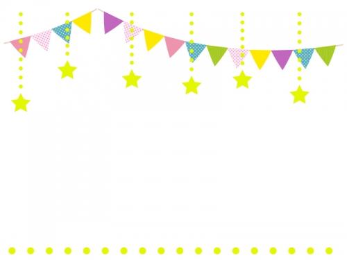 フラッグガーランドと星の飾りのフレーム飾り枠イラスト