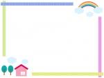 家と虹のマスキングテープ風フレーム飾り枠イラスト