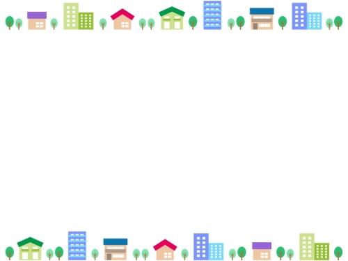 建物・街並みの上下フレーム飾り枠イラスト