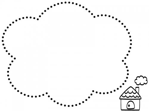 手書き風のお家の白黒点線もこもこフレーム飾り枠イラスト