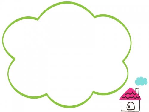 手書き風のお家の緑色もこもこフレーム飾り枠イラスト