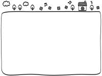 手書き風のお家と雲の白黒フレーム飾り枠イラスト