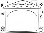 音符とお家の形の白黒フレーム飾り枠イラスト