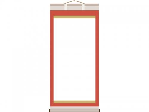 赤い掛け軸のフレーム飾り枠イラスト