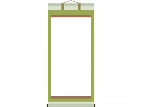 緑色の掛け軸のフレーム飾り枠イラスト