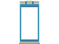青い掛け軸のフレーム飾り枠イラスト