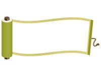 緑色の巻き物のフレーム飾り枠イラスト
