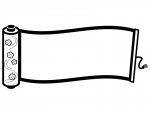 波打つ巻き物の白黒フレーム飾り枠イラスト