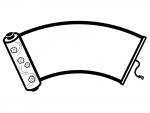 扇形の巻き物の白黒フレーム飾り枠イラスト